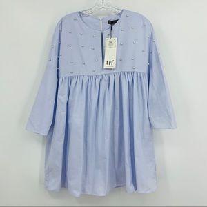 Zara NWT Blue Poplin with Pearls Romper Dress, M